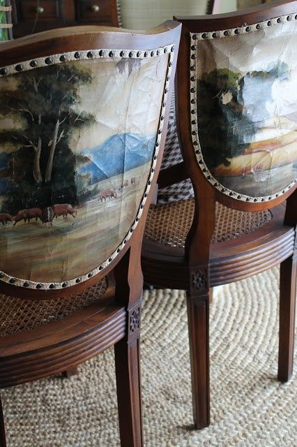 Shield Back Chairs With Painted Canvas