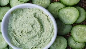 1 peeled cucumber in blender add 1 egg white and 1oz witch hazel - place between gauze pads - freeze till firm not hard - lay down place on eyes 10 min