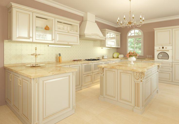 Большая п-образная кухня Кампари с островом. Роскошь  и непревзойденное удобство  классики в современном исполнении http://www.aldas.ru/product/kuhnja-kampari/