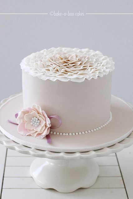 Pink and cream ruffled cake by Bake-a-boo Cakes