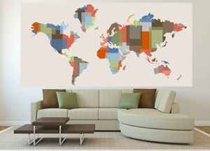 37 best map murals images on pinterest murals wall paintings and decorative color block world map wall mural on peel and stick fabric or wallpaper choose from several sizes up to x gumiabroncs Images