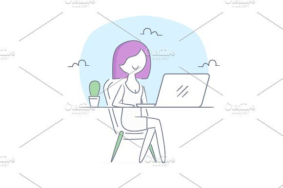 Girl at workplace by Artur Stotch on @creativemarket