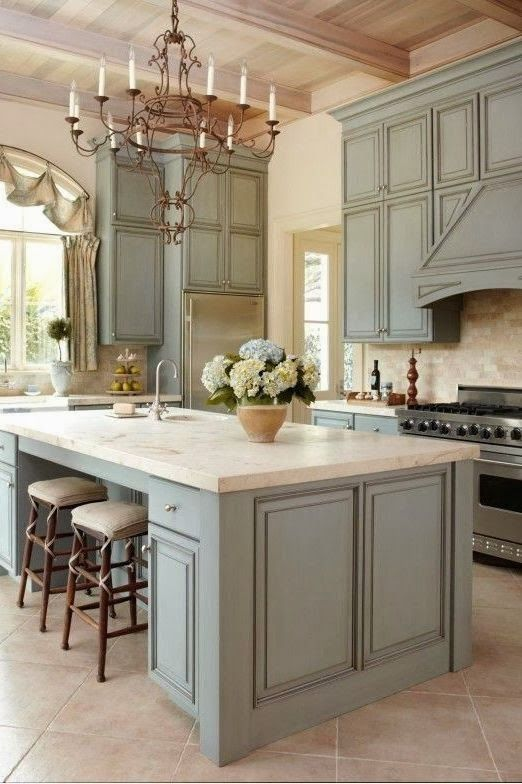 French Blue Kitchen Cabinets   Interior Decor Luxury Style Ideas   Home  Decor Ideas Part 95