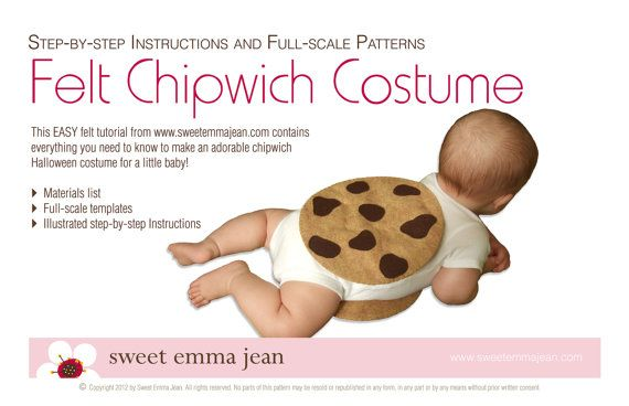 DIY Felt Chocolate Chip Cookie Chipwich Infant Halloween Costume Felt Pack - All the felt you need - Pattern included. $9.99, via Etsy.