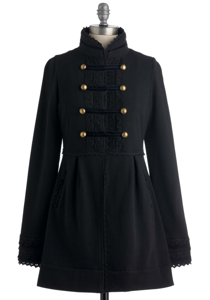 Regiment to Be Coat by Knitted Dove - Black, Solid, Buttons, Lace, Pockets, Long Sleeve, 2, Trim, Military, French / Victorian, Fall