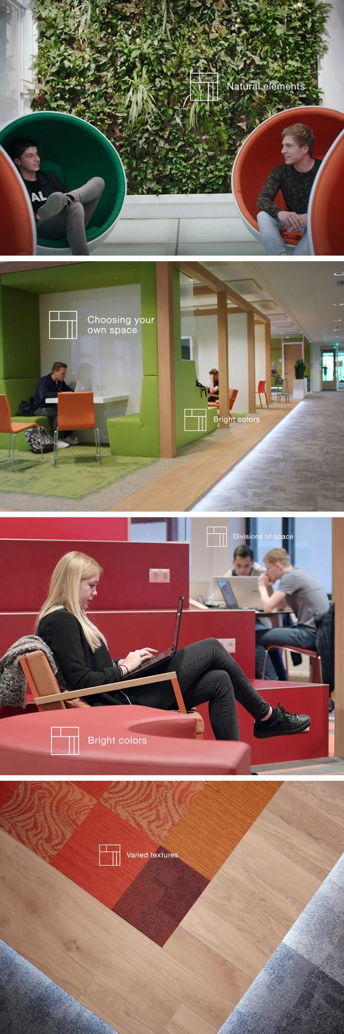 Inside Avans University, you'll spot spaces that support students and teachers alike. These #PositiveSpaces feature biophilic design to improve well-being and concentration, flexible environments for more choice, bright colors that spark inspiration and varied textures that create balance and versatility. From thoughtful floor design to unique accents, this education design paves the way to positive learning.