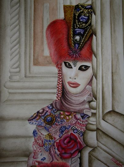 """""""Venice's glance"""".  Drawing realized with watercolors on bamboo paper. Dimensions: cm 30x40 cm.   #Watercolors #Venice #VeniceItaly #VeniceCarnival #Art #Drawing #WatercolorPainting  #Maimeri"""
