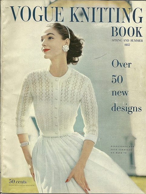 Gorgeous white cardigan-Vogue Knitting Book S/S, 1957