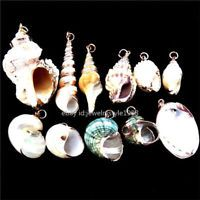 1X  Gold Plated Nature Sea Ocean Beach Oyster Creative Conch Shell Pendant Charm