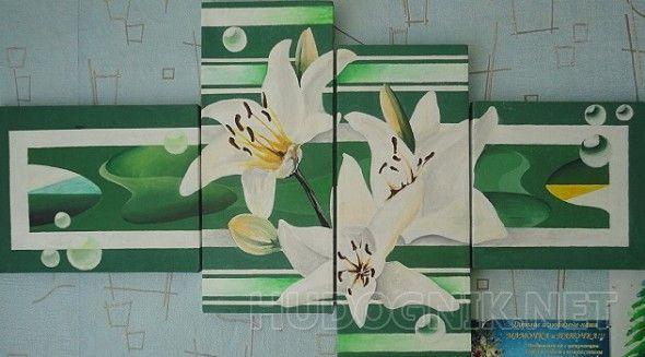 цветы на зеленом  модульная картина