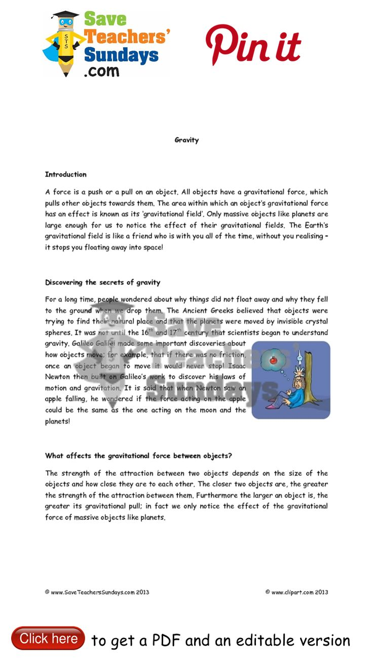 Gravity explanation text. Go to http://www.saveteacherssundays.com/science/year-5/508/lesson-1-gravity/ to download this Gravity explanation text. #SaveTeachersSundaysUK