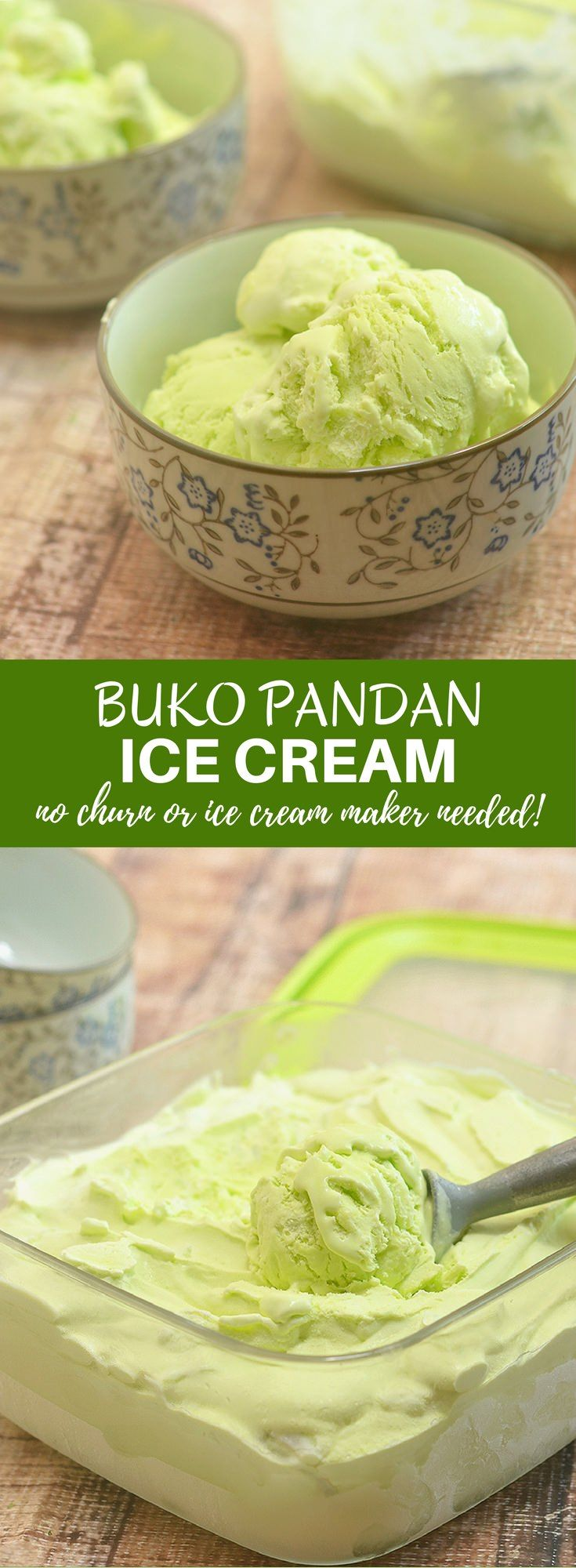 Buko Pandan Ice Cream with tender young coconut strips and intense pandan flavor is so easy to make at home and there's no need for an ice cream maker! Rich and creamy, it's a frozen treat you'd want year round! via @lalainespins
