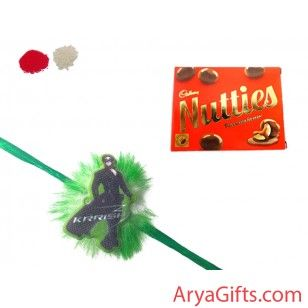 Send the best rakhi wishes to your dearest brother and show how much you will miss them on this Raksha Bandhan. Beautiful krish Rakhi with Cadbury Nutties Chocolates (30 gm ).Rakhi design may differ as per the stock available. We offer free pack of Roli & Chawal along with Rakhis.