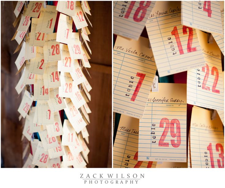 Escort cards made from library book card inserts