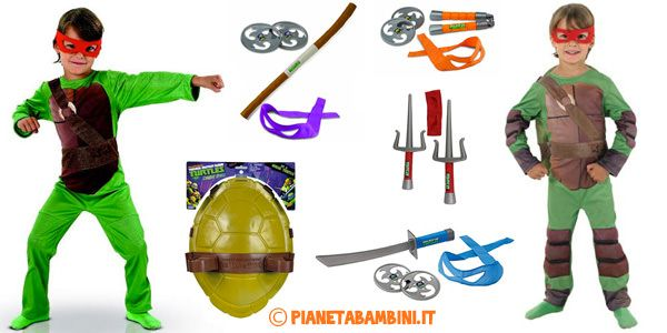 Armi e Costume delle Tartarughe Ninja per Bambini