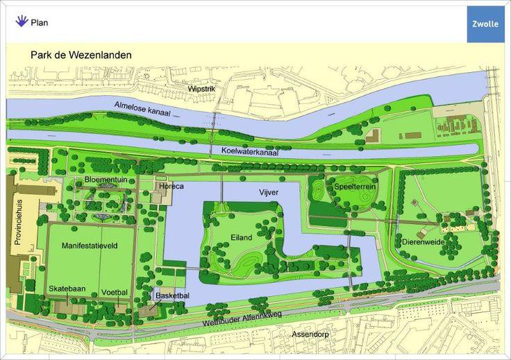 Sfeerimpressie van een park met verschillende soorten attributen voor iedereen die erdoor loopt.