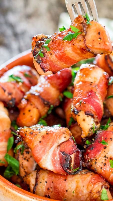 Sweet Chicken Bacon Bites ~ Perfectly seasoned chicken pieces, wrapped in glorious bacon, rolled in brown sugar and baked to golden perfection.