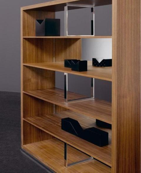 Estantería de madera con cinco estantes de estilo moderno