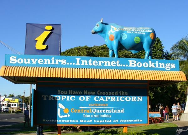 The Big Blue Cow welcomes visitors to Australia's Beef Capital, Rockhampton, Queensland