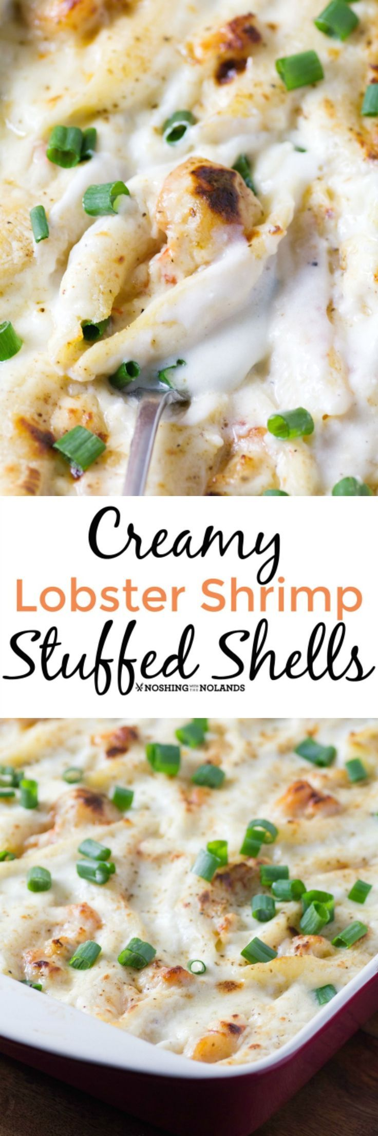 Creamy Lobster Shrimp Stuffed Shells by Noshing With The Nolands is a decadent dish perfect for any special occasion. How about a romantic dinner for two?