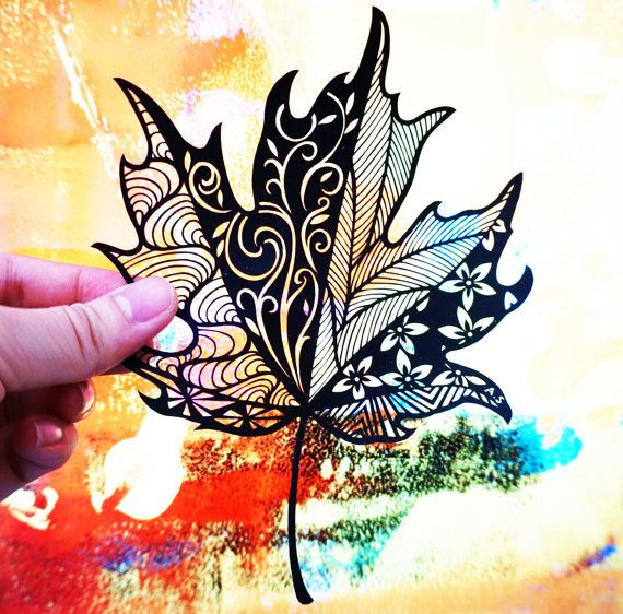Handmade paper cut - Maple leaf, wall art, unframed