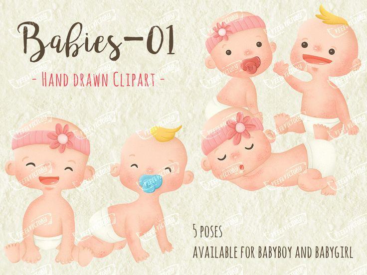 Babies Clip Art-01 by veee4victory on Etsy #vintage #baby #cute