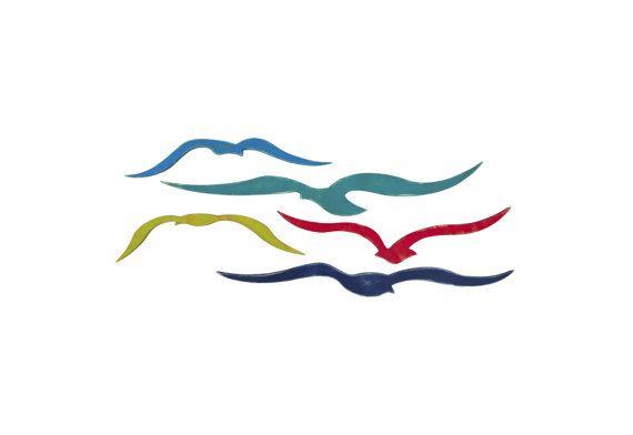 Kudde van meeuwen, nautische wand Decor, kust Decor, strand Decor, nautische kunst aan de muur, Seagull kunst, kunst aan de muur van de kust, strand Decor kust