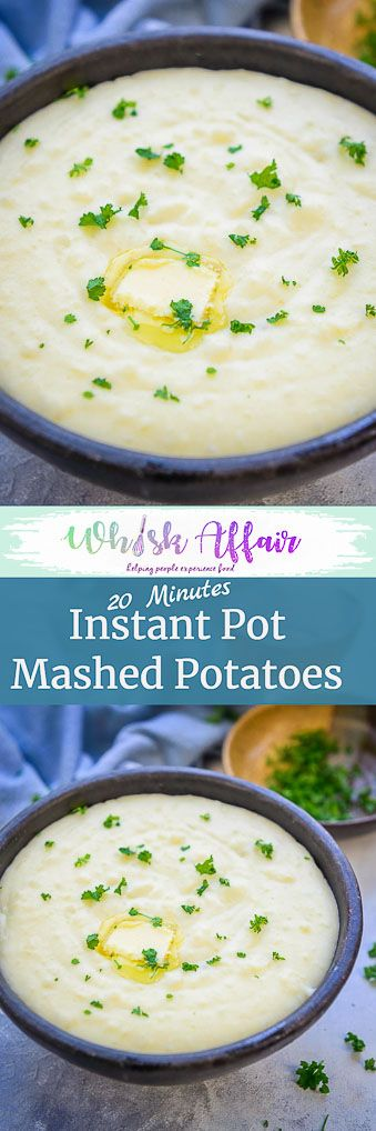 These Instant Pot Garlic Mashed Potatoes are the best ever homemade mashed potatoes and they take all of 20 minutes from start to finish. Check out this pressure cooker mashed potatoes recipe and make this ASAP. #InstantPot #Recipes #Potatoes via @WhiskAffair