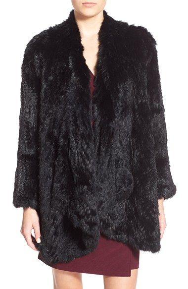Arielle Long Drape Genuine Rabbit Fur Jacket available at #Nordstrom