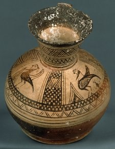 Pottery Oinochoe decorated with geometric patterns and a siren. Height 23.7cm Diameter 21.3cm Weight 1.55kg   Excavated/Findspot: Kamiros, tomb Kamiros, Rhodes, Dodecanese, Greece 700BC-680BC (circa)  Orientalising Period. East Greek.  AN287830001. acquisition date 1861.   © The Trustees of the British Museum