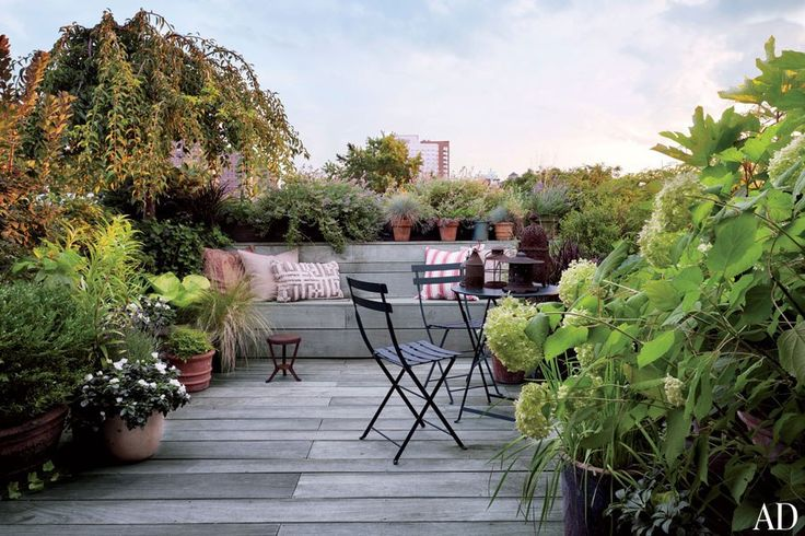 The terrace was created by Jane Kim Design, which oversaw renovations of the brownstone apartment, and Parrotta Design Management was responsible for the landscaping.