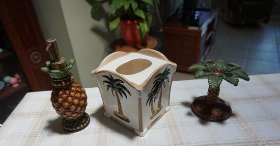 Tropical Bathroom Set  Includes Soap by CollectableCottageFL