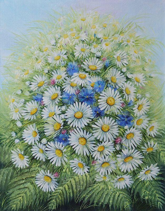Картины - Цветы - Букет ромашек (Холст, масло)