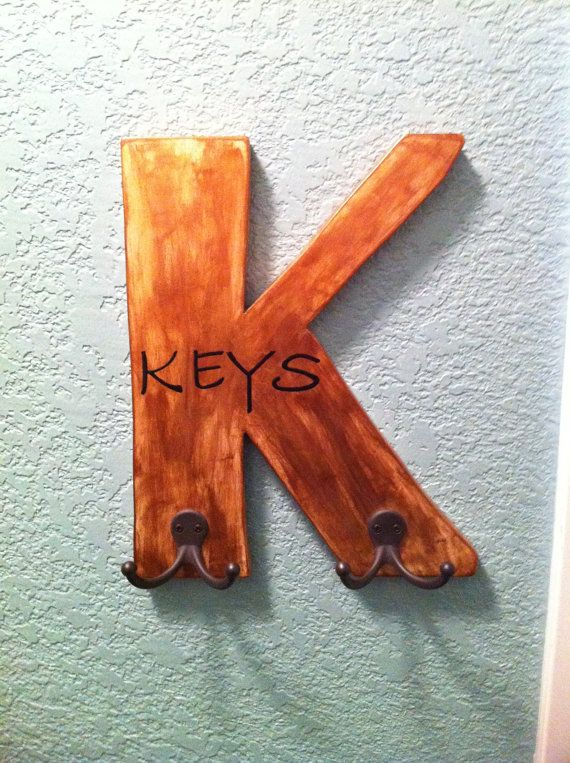 """Rustic Wood Letter """"K"""" Key Holder with 4 hooks for hanging your keys by Sallys Brush of Art & More  ****Like this but would love it in another color... silver hooks instead of black... Maybe your would like your Initial for you Last Name .. No problem just contact me to share you idea of what you want... ****"""