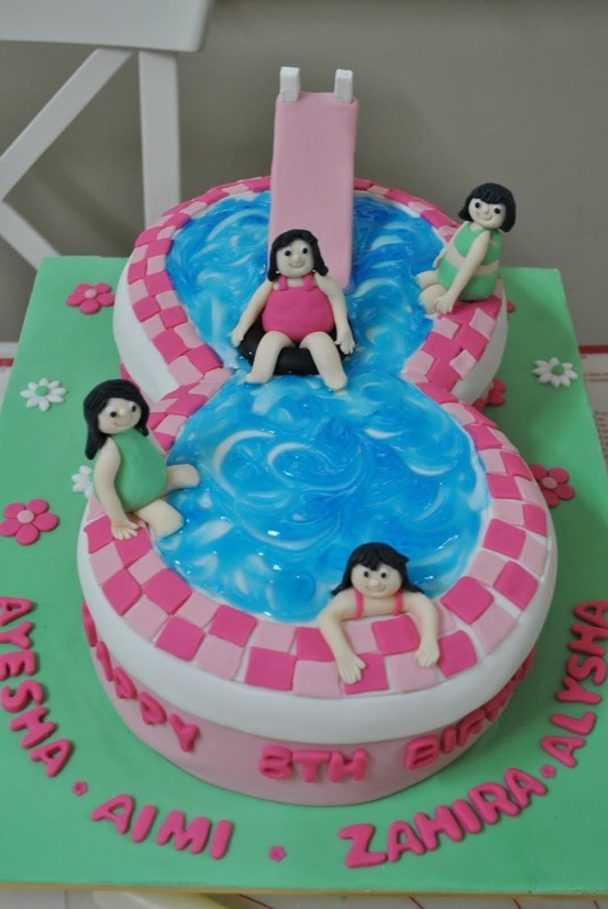 swimming pool cake for caidences 8th birthday