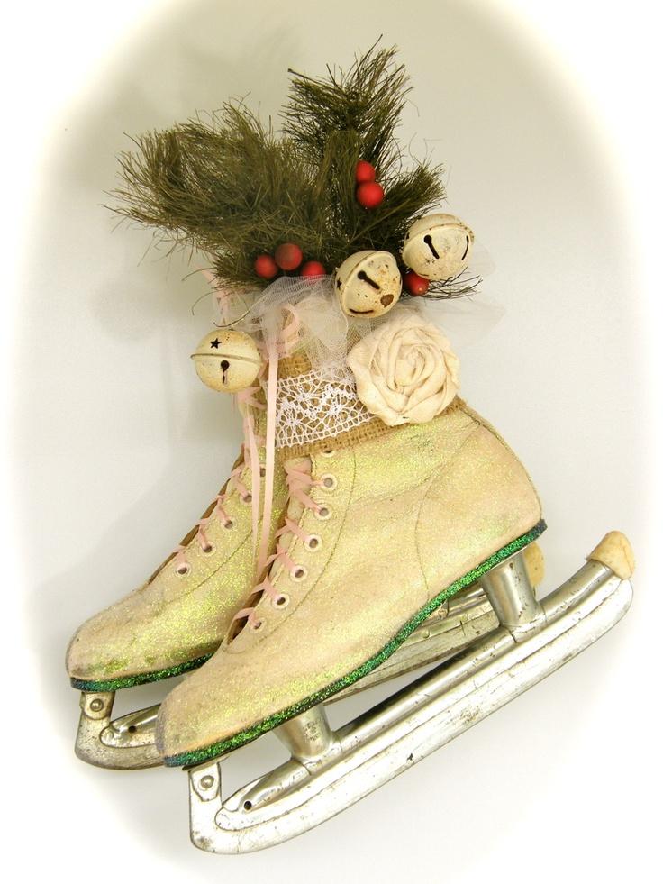 Vintage ice skates gift basket ideas pinterest trees for Antique sled christmas decoration
