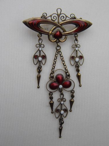Norwegian Marius Hammer Art Deco Silver Red Enamel Festoon Brooch