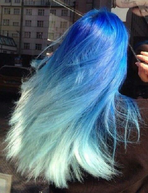 Blue ombre dyed pastel hair  color @hairsgallery