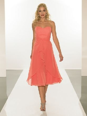 Concise sweetheart strapless salmon chiffon sleeveless pleated sleeveless tea-length Bridesmaid Dress BD251122