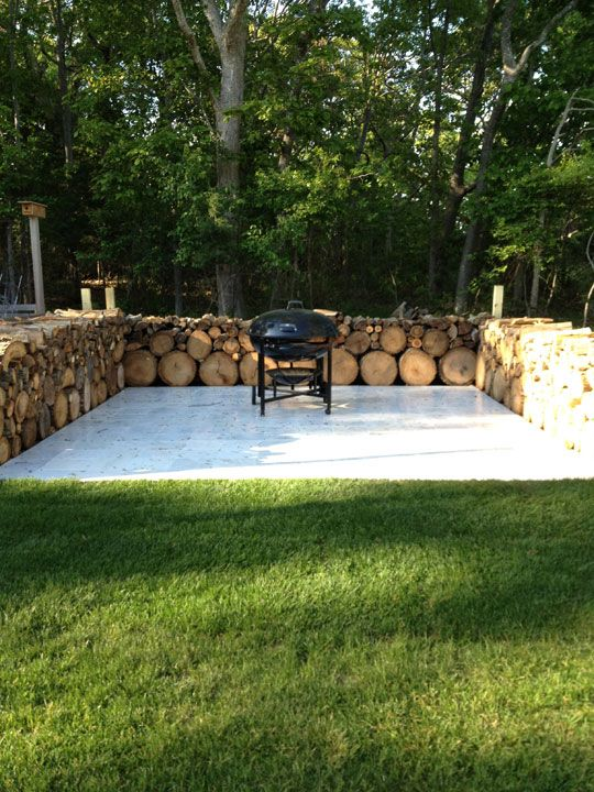 chopped wood rustic patio fence
