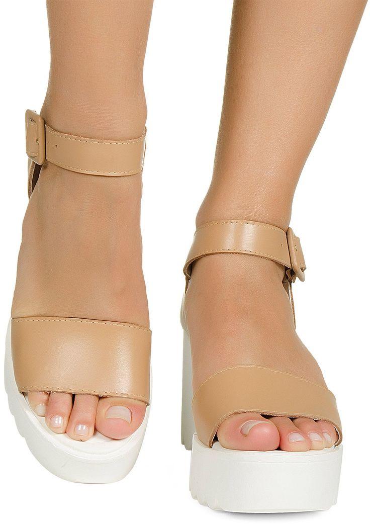 Sandalia flatform tratorada nude Taquilla - Taquilla - Loja online de sapatos femininos