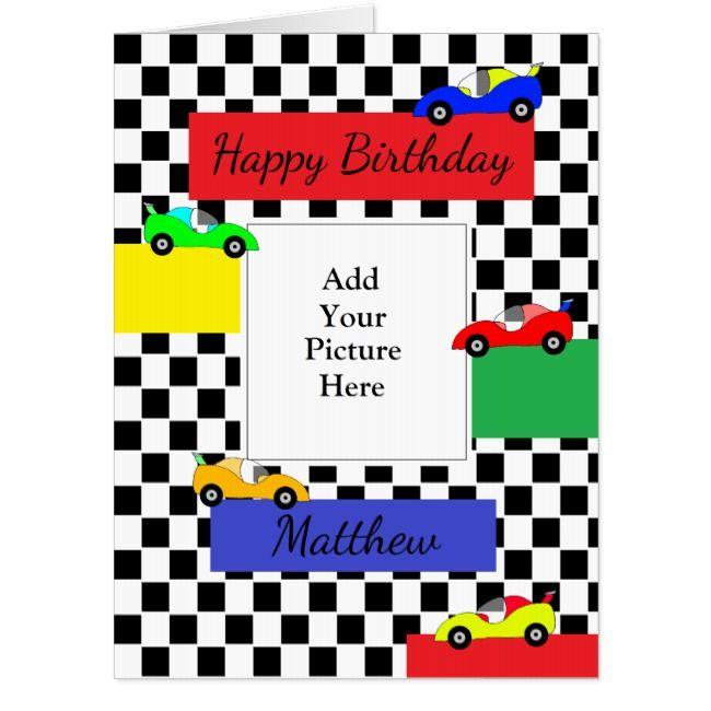 Boy S Race Car Happy Birthday Add Your Photo Jumbo Card Zazzle Com Birthday Cards For Boys Happy Birthday Fun Happy Birthday