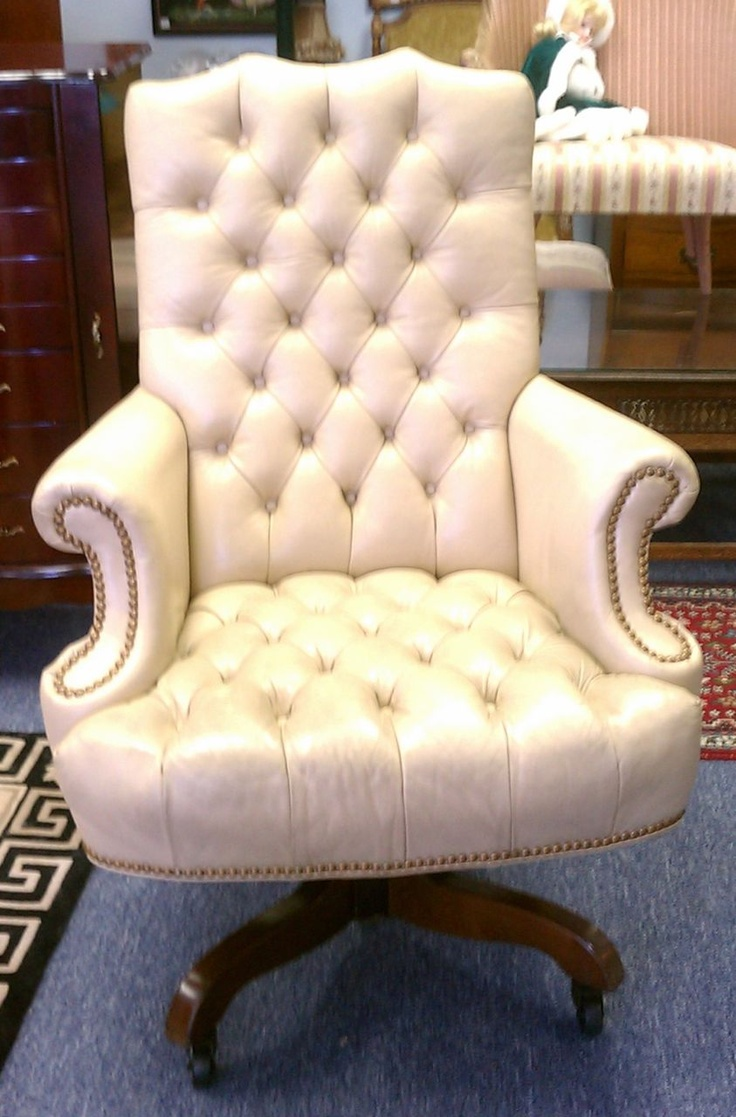 Executive desk chair. White, tufted leather with brass tack trim. Swivels,  titlts - 12 Best Vinces Office Images On Pinterest