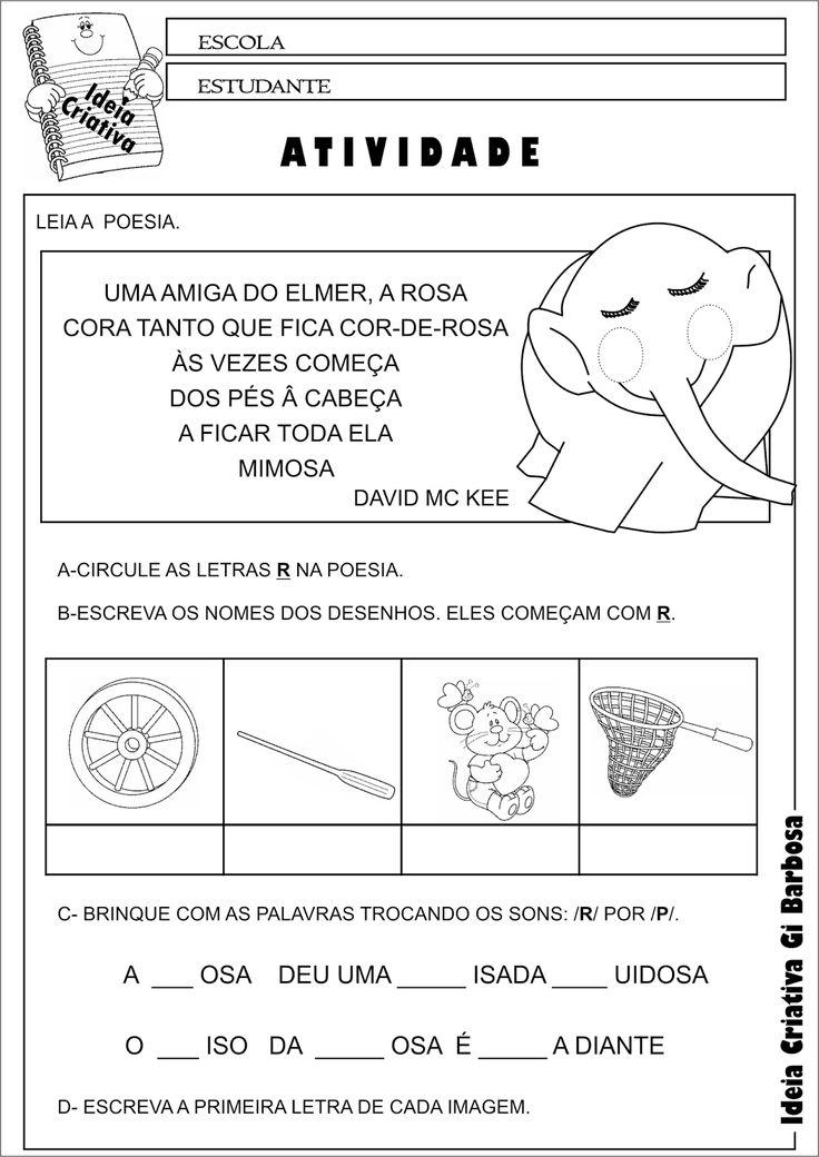Atividade Consciência Fonêmica Elmer e Rosa - PNAIC