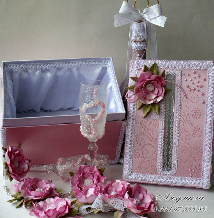 Купить Свадебный комплект Шарм - розовый, свадебные аксессуары, свадебные украшения, свадебные бокалы