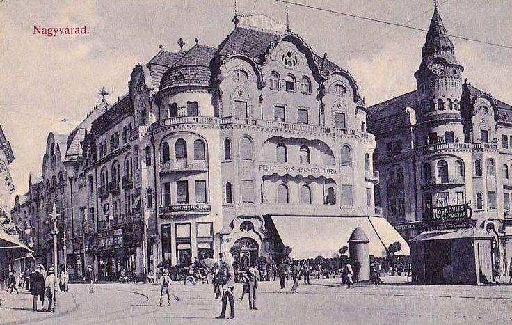 Oradea: The Black Eagle Hotel, and Moskovits shoe store .1910