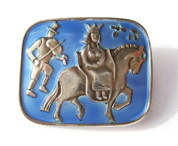 Vintage Norwegian enamel brooch, wedding parade, modernist  sterling silver brooch Norway by N M Thune, cornflower blue. https://www.etsy.com/listing/224799317/vintage-norwegian-enamel-brooch-wedding