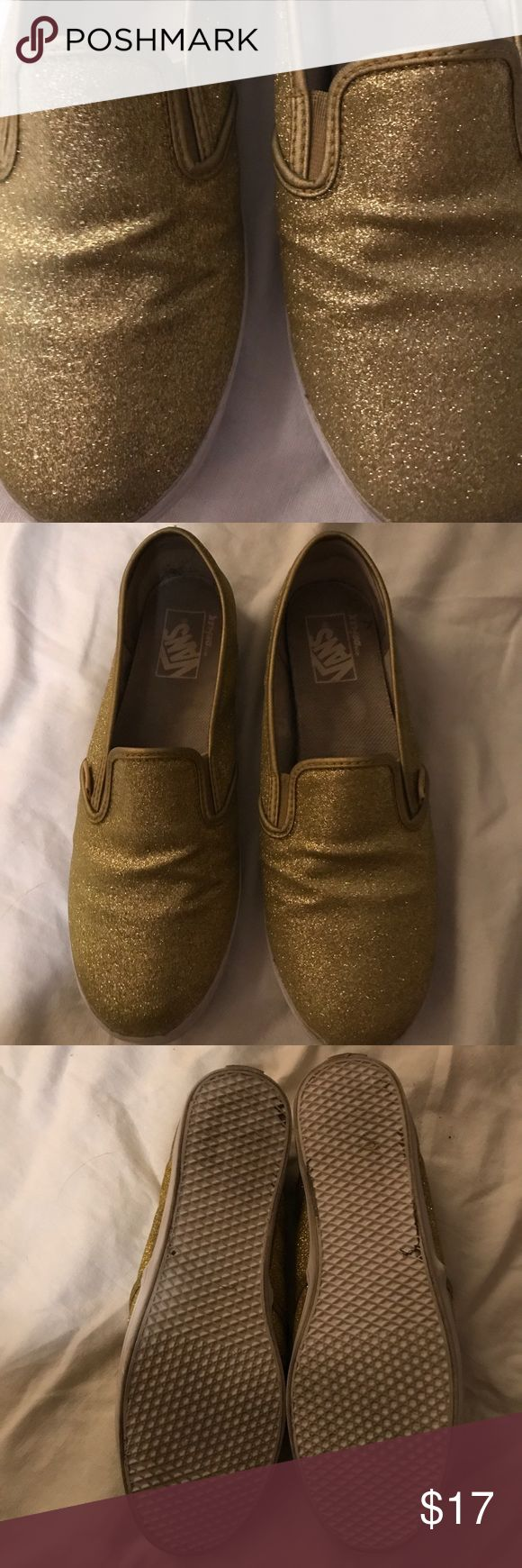 Gold sparkly glitter vans size 8 These are super comfy but alas, I don't have a lot of reason to wear gold glitter shoes. It's sad!please take them from me and click your heels twice like Dorothy! Vans Shoes