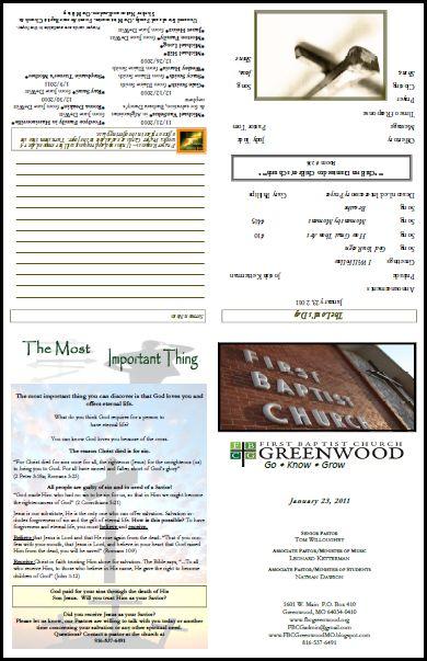 Free church bulletin layouts greenwood bulletin1 bb pinterest layout church and church for Church bulletin ideas layouts
