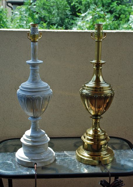 Brass lamp makeover before and after. www.deservingdecor.org